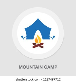 mountain camp - Fire flame icon, campfire sign - hot burn element, sign and symbol