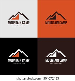 MOUNTAIN CAMP ORANGE RED BLACK WHITE EMBLEM LOGO TEMPLATE VINTAGE