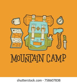 Mountain camp. Travel vector illustration for greeting cards, posters and t-shirts printing.