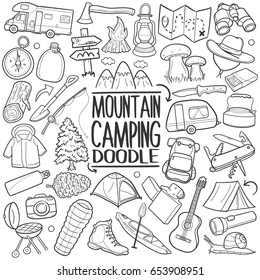 Mountain Camping Doodle Icons Sketch Hand Made. Coloring doodle Logos.