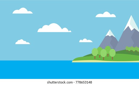 Mountain cartoon view of an island in the sea with green hills, trees and gray mountains with peaks under snow under a blue day sky with clouds with a straight horizon - vector
