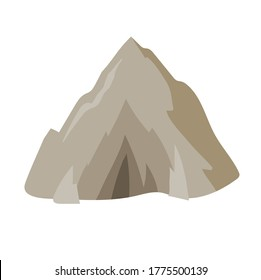 Mountain cave entrance in flat style, landscape design element. Colorful flat vector illustration. Isolated on white background.