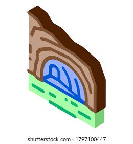 mountain cave gorge icon vector. isometric mountain cave gorge sign. color isolated symbol illustration