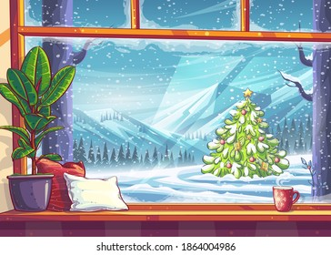 Mountain and christmas tree view through the window. For print on demand, advertisements and commercials, magazines and newspapers, book covers.