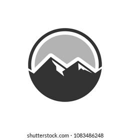mountain and circle logo.