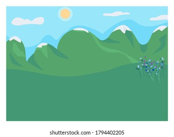 Mountain clearing flat color vector illustration. Highland spot. Rocks and rural meadow. Place with flowers for romantic picnic outdoors. Daytime 2D cartoon landscape with high peaks on background