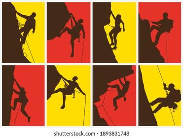 Mountain climber, abstract colorful concept.