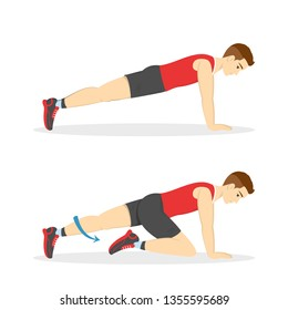 Mountain climber exercise for ABS. Workout in the gym. Fitness and healthy lifestyle. Muscle building and belly burn. Isolated vector illustration in cartoon style