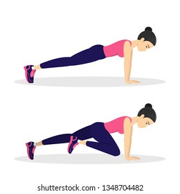 Mountain climber exercise. Female character doing workout for belly burn. Fitness in the gym. ABS training. Isolated vector illustration in cartoon style