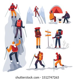 Mountain climbers with backpacks walking in winter season, isolated characters vector. Climbing and mountaineering sport, trekking with sticks. Campfire on snow and camping, direction pointer