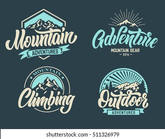 Mountain climbing adventure outdoor logo set