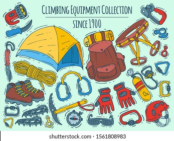 Mountain climbing, alpinism and mountaineering cartoon symbols banner. Hiking equipment vector illustration. Hike for web pages, sites and posters