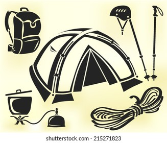 Mountain climbing gear vector set: tent, helmet, pair of hiking poles, cookware, rope, backpack
