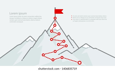 Mountain climbing path top goal plan journey to success - Business career success flat line concept. Mountain journey route with red flag to peak on minimalistic web banner. Vector illustration