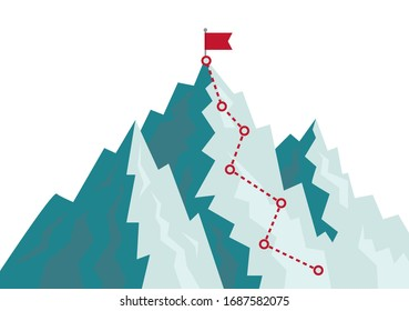 Mountain climbing route to goal. Flat path of journey with direction of line. Cartoon progress career concept. Alpinism plan with flag on peak. Competition of leaders in achieving goal on rock. vector