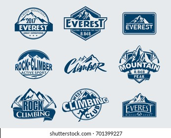 Mountain climbing vector logo and labels set. Sport emblem climbing. Everest in Himalayas outdoor adventure badge. Trekking, hiking. Active sports
