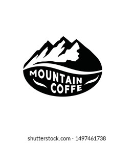 Mountain Coffee Logo concept, mountain with coffee bean logo. Outdoor adventure. Vector graphic for t shirt and other uses. Mountain Logo. Flat design logo template.