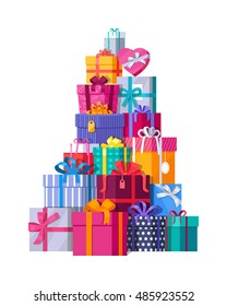 Mountain of colorful gift boxes on white background. Big stack of christmas presents. Decorative stylish wrap for presents package on boxes with ribbons and bows. Gifts web icon sign symbol. Vector