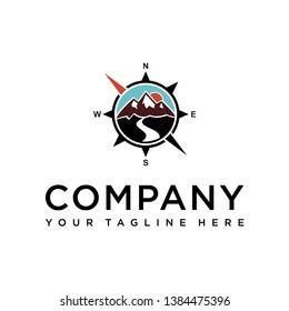 mountain compass and landscape design logo