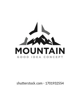 Mountain Compass Logo Design Vector