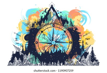 Mountain and compass and wind rose tattoo watercolor splashes style. Boho style, t-shirt design. Adventure, travel, outdoors art symbols