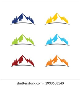 mountain concept logo full of natural colors