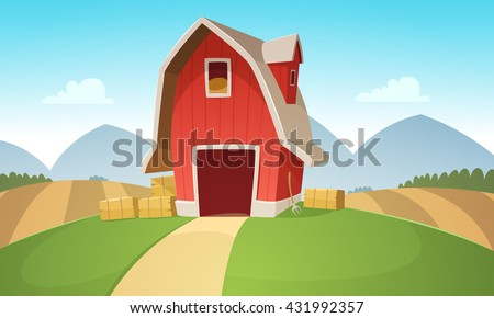 vetor stock de mountain countryside landscape red farm barn livre