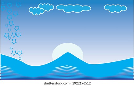 The mountain depiction background in blue is excellent for the text design above