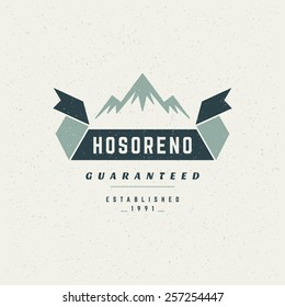 Mountain Design Element in Vintage Style for Logotype, Label, Badge, T-shirts and other design.