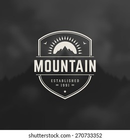 Mountain Design Element in Vintage Style for Logotype, Label, Badge and other design. Adventure retro vector illustration.