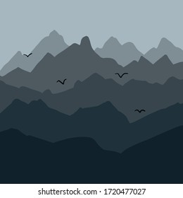 Mountain diversity. Mountain landscape illustration. Mountain birds on a background of peaks. Graphic concept for your design. Vector illustration on white background. For cards, posters, stickers.