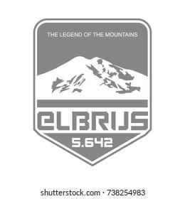Mountain Elbrus in Caucasus, Russia outdoor adventure logo. Vector insignia. Climbing, trekking, hiking, mountaineering.