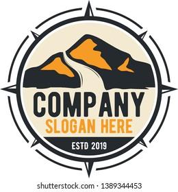 mountain emblem logo vector with abstrack kompas