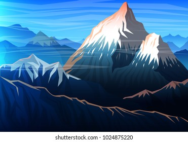 Mountain everest, Evening panoramic view of peaks, landscape early in a daylight. travel or camping, climbing. Outdoor hill tops, Nepal.