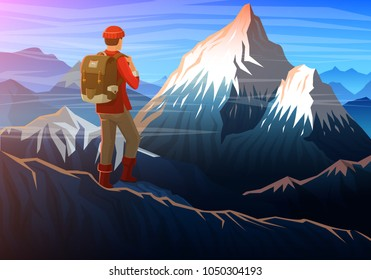 Mountain everest with tourist, Evening panoramic view of peaks, landscape early in a daylight. travel or camping, climbing. Outdoor hill tops national park, Khumbu valley, Nepal.