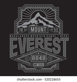 Mountain everest typography, t-shirt graphics, vectors