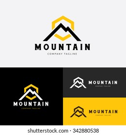 Mountain, Excavator Logo Template