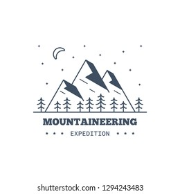 Mountain expedition badge design. Line art illustration. Climbing, trekking, hiking emblem