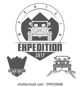 Mountain Expedition. Jeep emblem. Shield logo. Retro monochrome outdoor adventure and mountain badge, logo, emblem, label. Vintage design elements. Vector illustration.