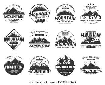 Mountain expedition and rock climbing vector icons. Snowy peaks monochrome silhouettes, steep rocky hills and mountain crest. Nature landscape for outdoor adventure extreme sport and travel labels set
