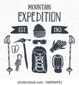 Mountain expedition vintage set. Hand drawn sketch elements for retro badge emblem, outdoor hiking adventure and mountains exploring label design, Extreme sports, vector illustration
