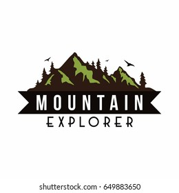 Mountain Explorer Adventure Badge Logo, Sign, Icon Vector Template Design
