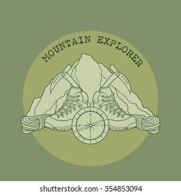 Mountain Explorer, Emblem, patch with hiking boots, ice picks and a compass, vector illustration