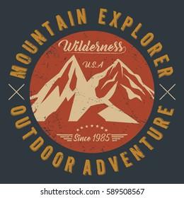 Mountain explorer, outdoor adventure, wilderness typography, t-shirt graphics, vectors