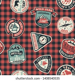 Mountain exploring adventure badges collection vector seamless pattern with patches and tartan background for children wear