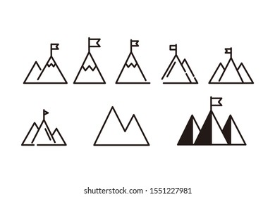 Mountain with flag icon template color editable. Flag on a peak symbol vector sign isolated on white background. Simple logo vector illustration for graphic and web design.