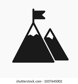 Mountain with flag on a peak