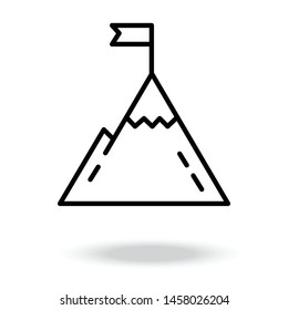Mountain with flag on a peak vector icon.Flag on the top of Mountain