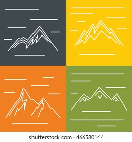Mountain flat icons with sun on color background. Logo for mountain tourism, vector illustration