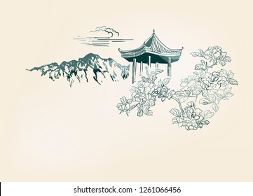 mountain flower blossom arbor nature landscape view vector sketch illustration japanese chinese oriental line art ink card background